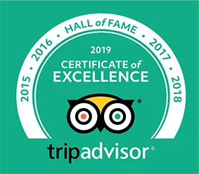 Trip Advisor 2019 Certificate of Excellence Hall of Fame