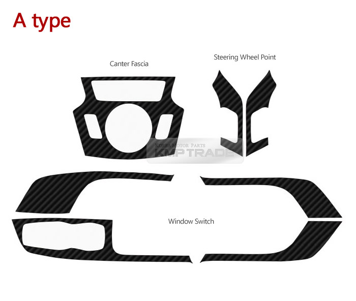 Carbon Center Fascia Switch Steering Wheel Decal 7Pcs for