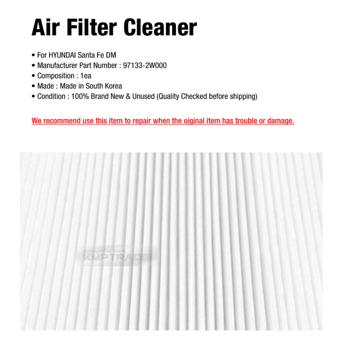 OEM Parts Parts Air Filter Cleaner 97133-2W000 For HYUNDAI