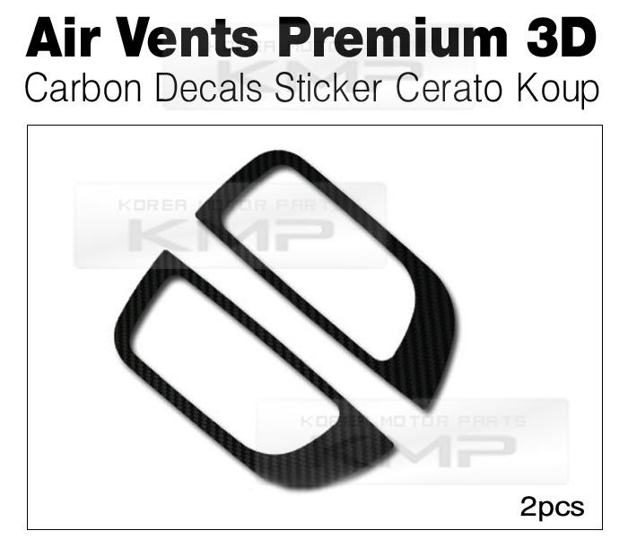 Air Vents 3D Carbon Decals Stickers 2P Fit Kia 2010-2012