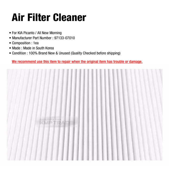 OEM Genuine Parts Air Filter Cleaner 97133-07010 For KIA