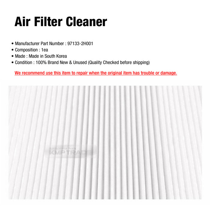 OEM Genuine Parts cabin air filter cleaner 97133 2H001 For