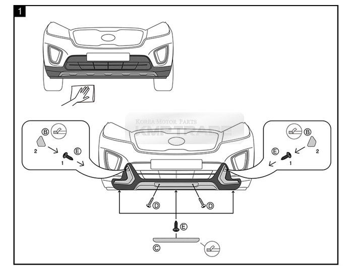 Front Rear Bumper Guard Skid Plate Body Kit Parts for KIA