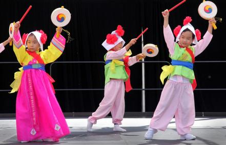 KIndergartner children from the Dreamland Preschool in Irvine perform the Little Drum Dance at the fourth annual Irvine Korean Cultural Festival at the Irvine Civic Center Saturday. ///ADDITIONAL INFORMATION: Chas Metivier, For the Register - 05/18/13 - iwn.koreanfestival.0523 Local residents will be treated to art exhibits, dances and games while the smell of kimchi and bibimbap waft through the air at the Irvine Civic Center on Saturday. More than 4,000 people are expected to show up for the fourth annual Irvine Korean Cultural Festival, which commemorates Korean immigration to the United States since Jan. 13, 1903, when 102 Koreans traveled by ship to Honolulu to work as sugar planters.