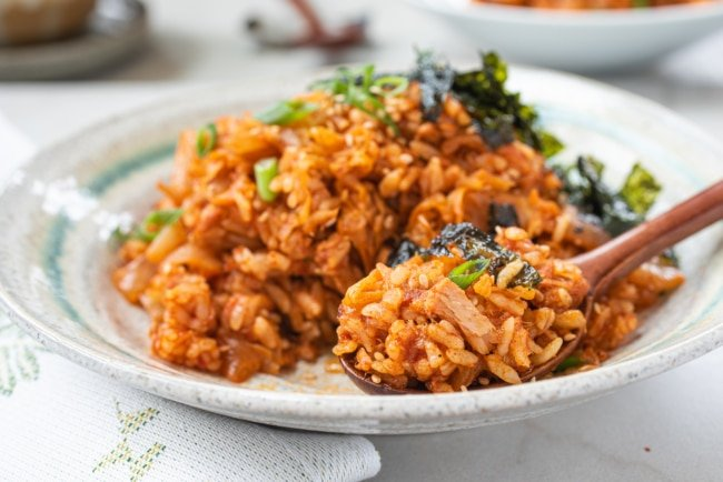 Kimchi fried rice with seaweed strips