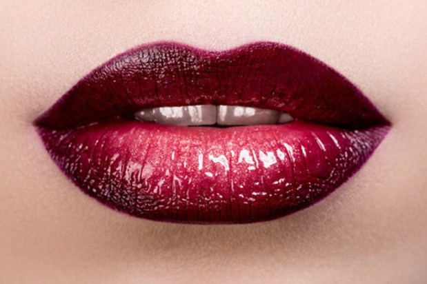 wine red lipstick
