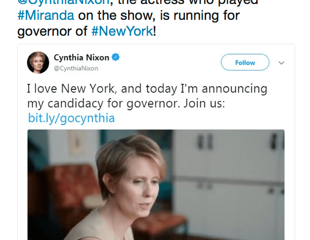 Embassy in Korea Tweets Cynthia Nixon