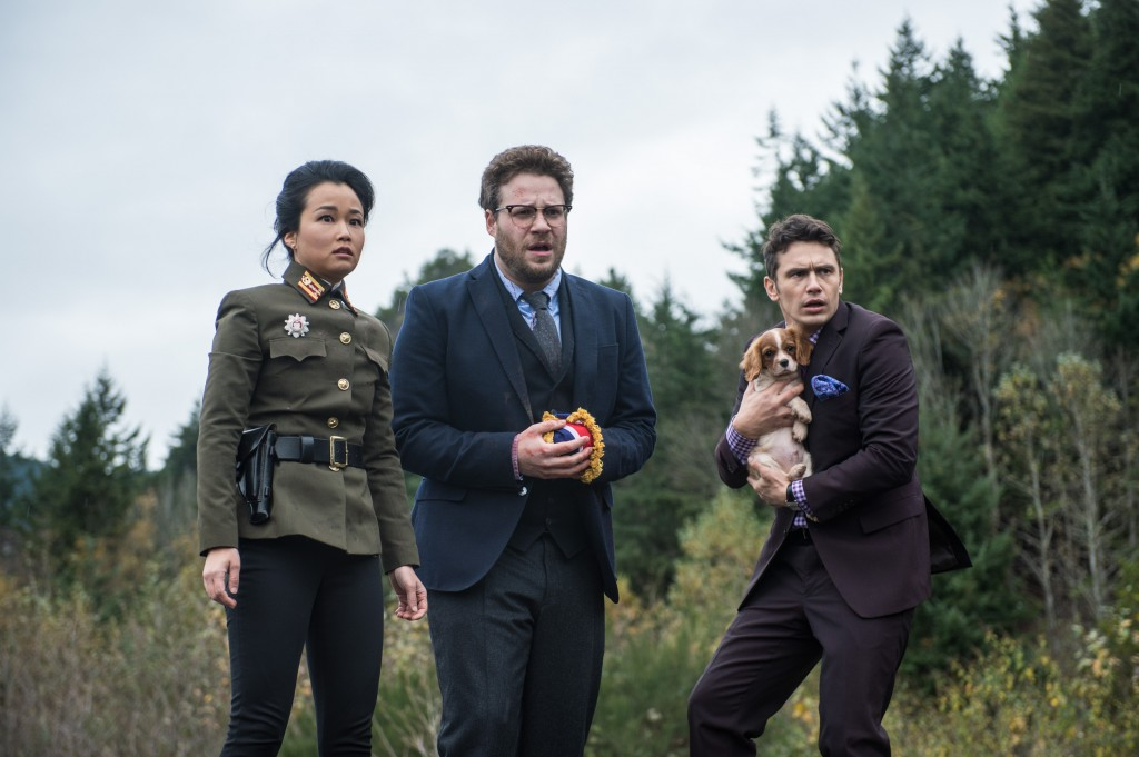 """Diana Bang plays Sook in Sony's semi-controversial political comedy """"The Inverview."""" She co-stars alongside Seth Rogen, center, and James Franco. (Courtesy of Sony Pictures)"""