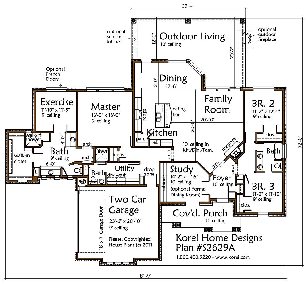 Texas Country Plan S2629A  Texas House Plans  Over 700
