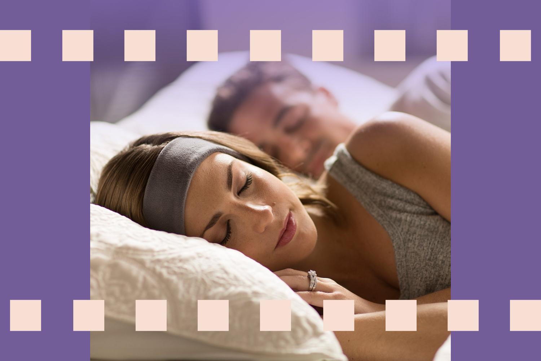 Female the usage of headphones in bed Sleep Phones