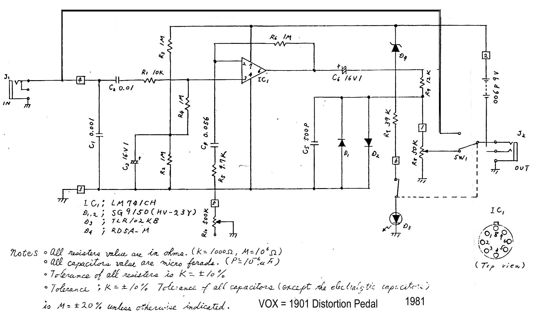 hight resolution of distortion pedal model 1901 1981 download diagram