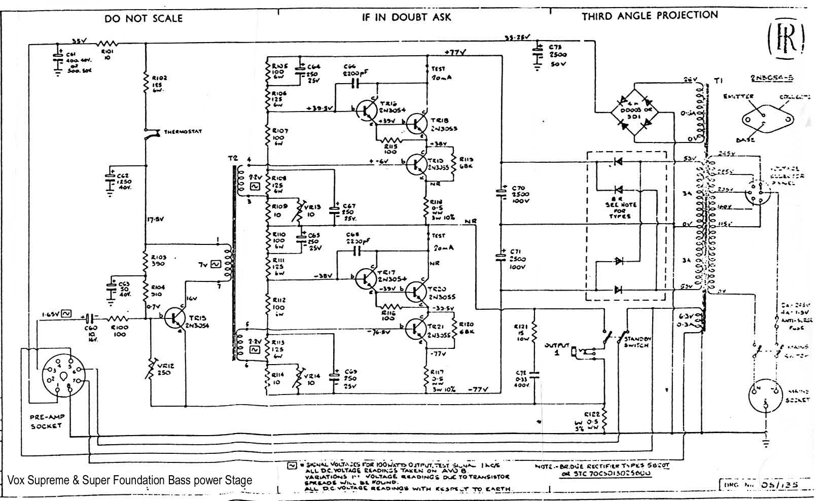 hight resolution of vox vintage circuit diagramssupreme u0026 super foundation bass power amp stage 100 watt 1969