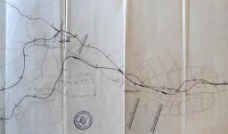Obr.2.2 - Detailní plán různých variant z Budějovic do Třeboně (1922)