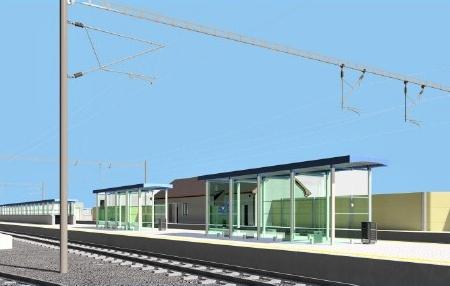 Nástupiště s podchodem, v pozadí nová technologická budova |Vizualizace: SUDOP |
