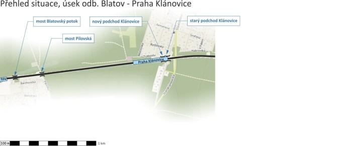 Přehled situace, úsek odb.Blatov - Praha Klánovice