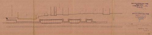 Zjednodušený podélný řez III.tunelem (1945)