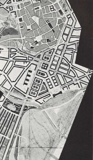Úřední projekt železniční správy, nová nádraží a regulace přilehlé části města, počátek 30. let 20. stol.