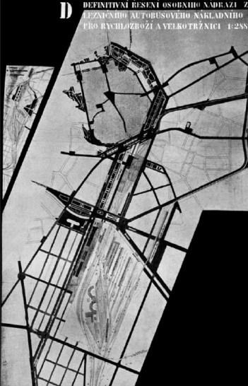 Soutěž na dopravně - komunikační plán Brna, Bohuslav Fuchs, Jindřich Kumpošt, František Sklenář, definitivní umístění nádraží, nejvyšší, 2. cena, 1933