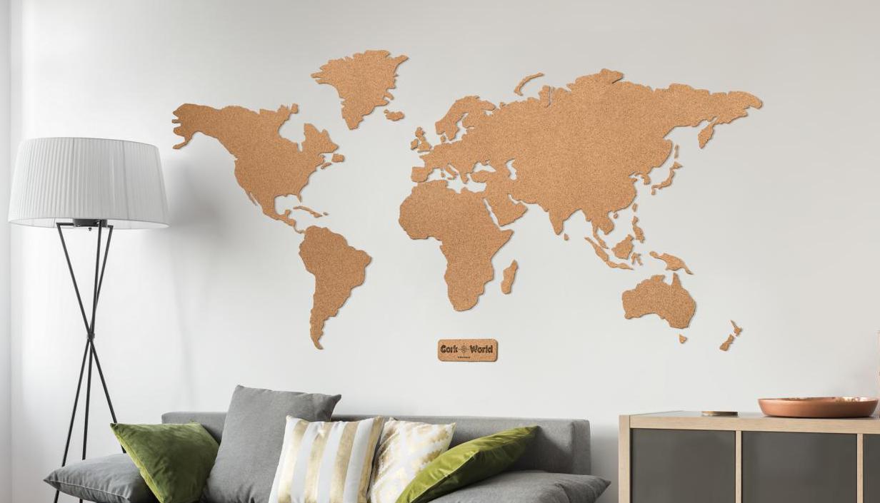 Weltkarte Korkwand  XXL Kork Weltkarte kaufen  KorkDekode