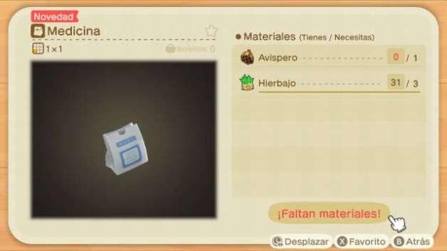 Receta de la Medicina en Animal Crossing New Horizons