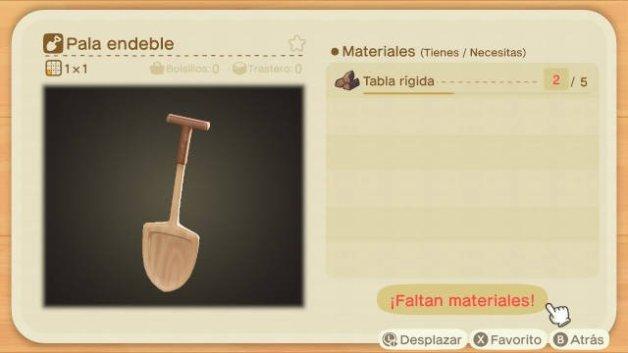 Receta de la Pala Endeble en Animal Crossing New Horizons