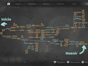 Mapa con la Localización de Hoenir del Abismo en Ender Lilies
