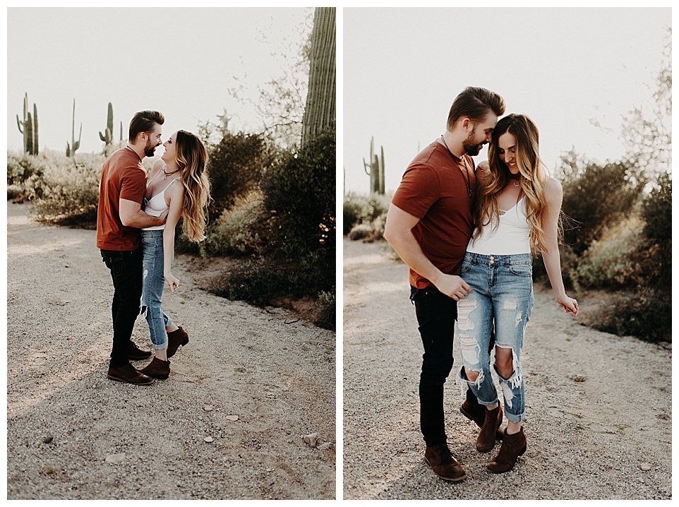 Usery Mountains, Arizona, desert, desert engagements, indie, bohemian, adventurous couple, engaged