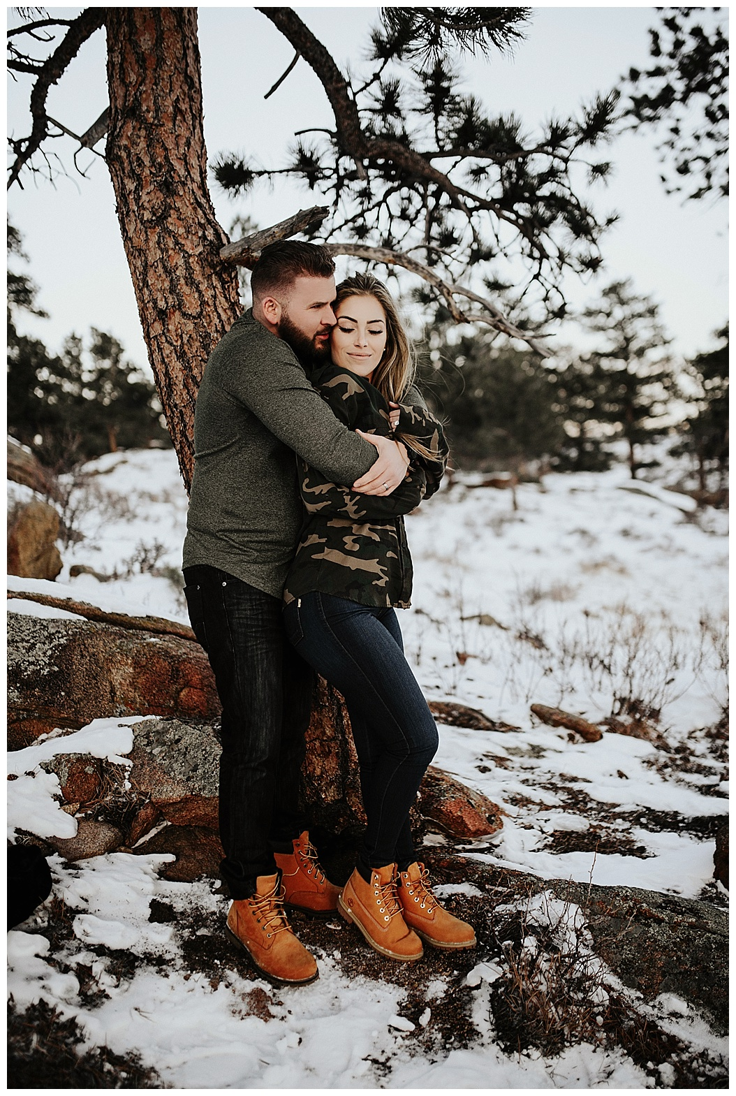 couples session, Estes Park, Colorado, winter, engagements