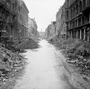 No 5 Army Film & Photographic Unit, Wilkes A (Sergeant) - This is photograph BU 8604 from the collections of the Imperial War Museums (collection no. 4700-30) Scene of destruction in a Berlin street just off the Unter den Linden. Permission details This artistic work created by the United Kingdom Government is in the public domain. This is because it is one of the following: It is a photograph created by the United Kingdom Government and taken prior to 1 June 1957; or It was commercially published prior to 1965; or It is an artistic work other than a photograph or engraving (e.g. a painting) which was created by the United Kingdom Government prior to 1965. HMSO has declared that the expiry of Crown Copyrights applies worldwide (ref: HMSO Email Reply) More information. See also Copyright and Crown copyright artistic works. Deutsch | English | suomi | français | italiano | 日本語 | македонски | മലയാളം | Nederlands | português | slovenščina | Türkçe | 中文 | +/− View more Public Domainview terms File:Destruction in a Berlin street.jpg Uploaded by Hohum Created: 3 July 1945