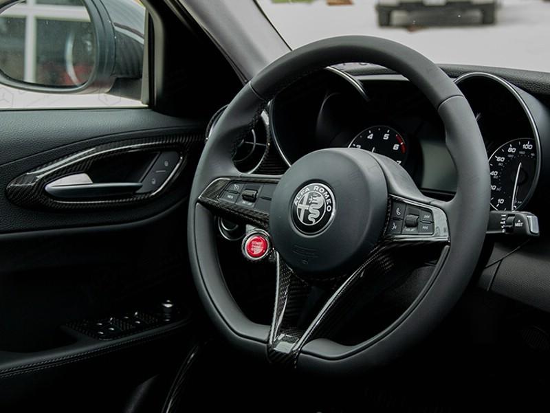Carbon fiber giulia stelvio steering wheel trim koshi group llc for Alfa romeo stelvio interior dimensions
