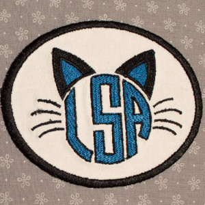 Custom Cat Monogram Embroidered Patch - White with Black Trim