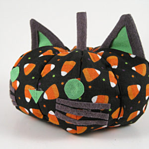 Black and Green Fabric Cat Pumpkin Decoration with Candy Corn