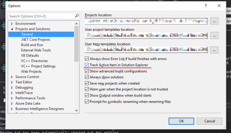 "Visual Studio settings for ""Track my active file in Solution Explorer"" - a really useful setting to have enabled, if you ask me!"