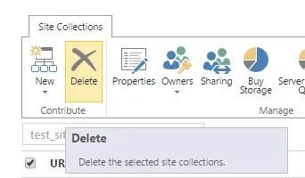 Delete site collection