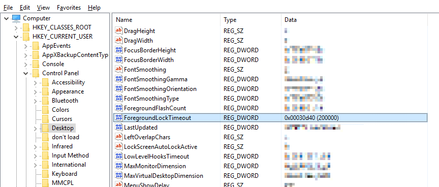 Regedit before changes stopping Outlook from stealing focus