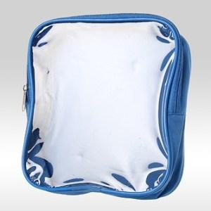 Голубая косметичка сумка с прозрачной фронтальной стороной из ПВХ