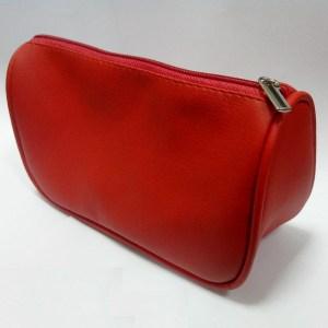 Кожаная красная косметичка с кедером (искусственная PU кожа)