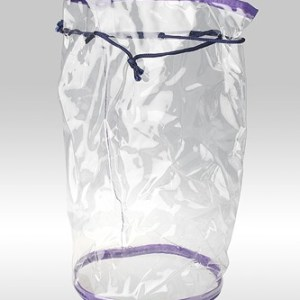 Прозрачная косметичка мешок-тубус с круглым дном, фиолетовый кедер, на шнурке