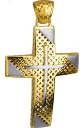 Σταυροί Βάπτισης - Αρραβώνα Βαπτιστικός Χρυσός Σταυρός 14Κ με Λευκές Ματ Λεπτομέρειες 014723 014723 Ανδρικό Χρυσός 14 Καράτια