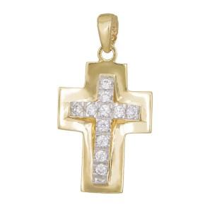 Κρεμαστό Κ14 δίχρωμο σταυρουδάκι 015010 015010 Χρυσός 14 Καράτια