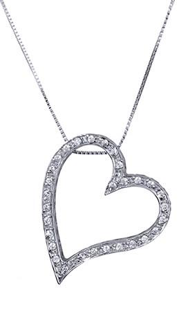 Λευκόχρυση καρδιά κολιέ 017365