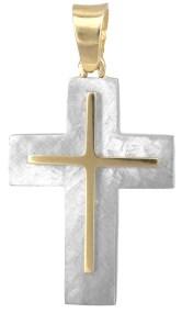 Σταυροί Βάπτισης - Αρραβώνα Βαπτιστικός σταυρός διπλής όψης Κ14 023120 023120 Ανδρικό Χρυσός 14 Καράτια