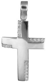 Σταυροί Βάπτισης - Αρραβώνα Λευκόχρυσος σταυρός με διαμάντια 18Κ 023241 023241 Γυναικείο Χρυσός 18 Καράτια