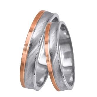 Βέρες γάμου δίχρωμες Κ14 024062 024062 Χρυσός 14 Καράτια