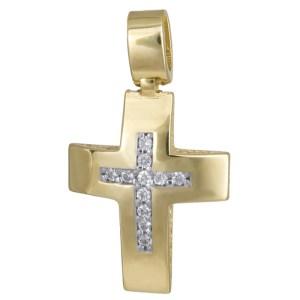 Γυναικείος χρυσός σταυρός Κ14 με πέτρες 024273 024273 Χρυσός 14 Καράτια