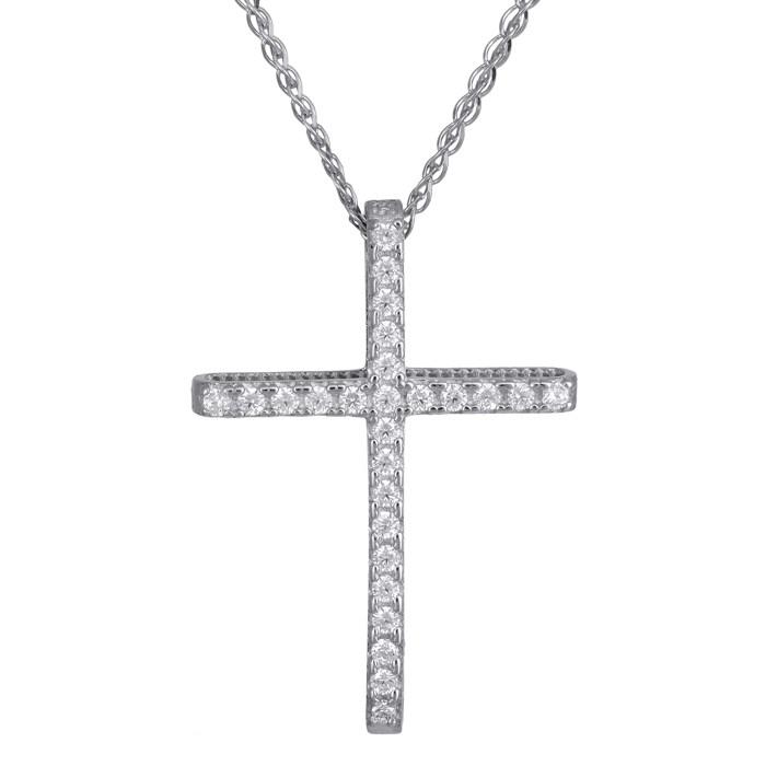 Λευκόχρυσος γυναικείος σταυρός Κ14 C024293 024293C Χρυσός 14 Καράτια