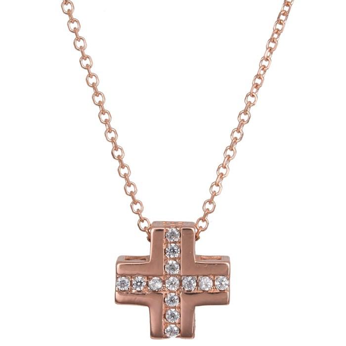 Ροζ gold σταυρός Κ14 024403 024403 Χρυσός 14 Καράτια