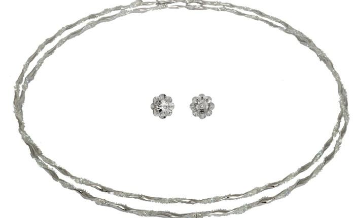 Ασημένια στέφανα γάμου με πέτρες 925 024834 024834 Ασήμι