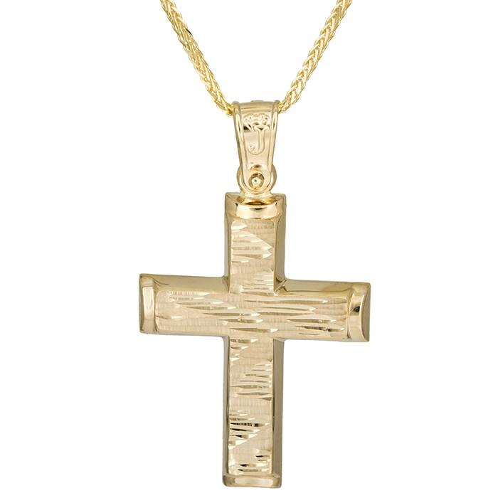 Βαπτιστικοί Σταυροί με Αλυσίδα Αντρικός χρυσός σταυρός Κ14 με αλυσίδα 026184C 026184C Ανδρικό Χρυσός 14 Καράτια