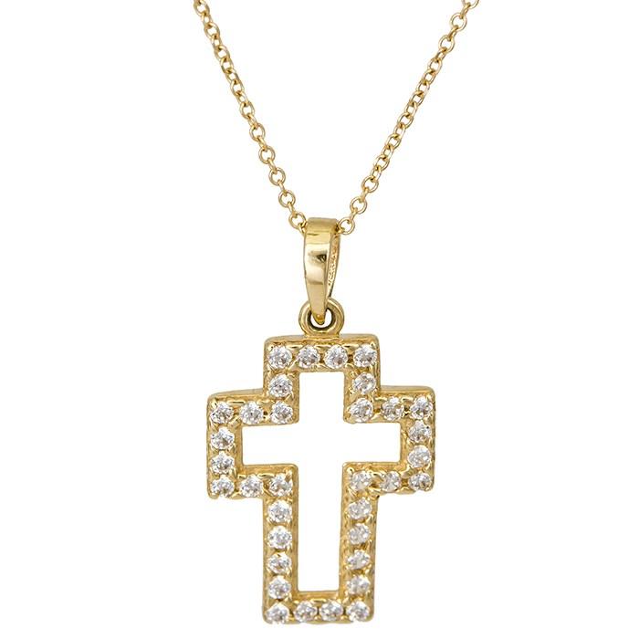 Χρυσός γυναικείος σταυρός Κ14 026420C 026420C Χρυσός 14 Καράτια